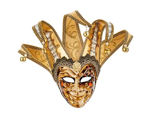 Máscara Decorativa Pequeña Original Veneciana Hecha A Mano, Con Rostro De Arlequín, Decoración Fantasía Cobre Y Oro Puntas De Terciopelo Y Papel De Partitura Made In Italy
