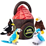Bird House Plush Toy Set | Includes 4 Talking Soft and Cute Plush Birds | with A Plush Bird House Shaped Carrier | Great Gift for Baby and Toddler Boys or Girls