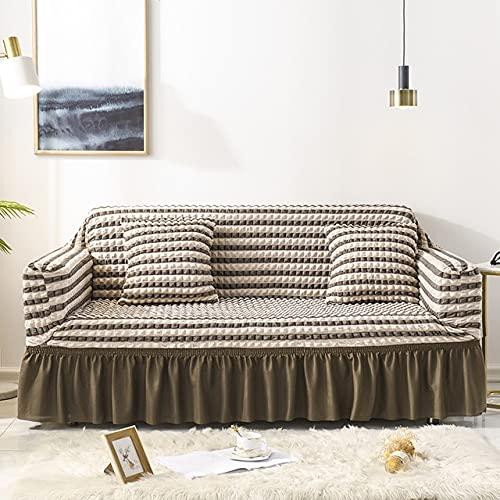 PPOS Funda de sofá con Falda Sofá seccional Europeo Fundas de sofá para Sala de Estar Sillón Fundas de sofá Elastic Stretch A11 3 Asientos 190-230cm-1pc