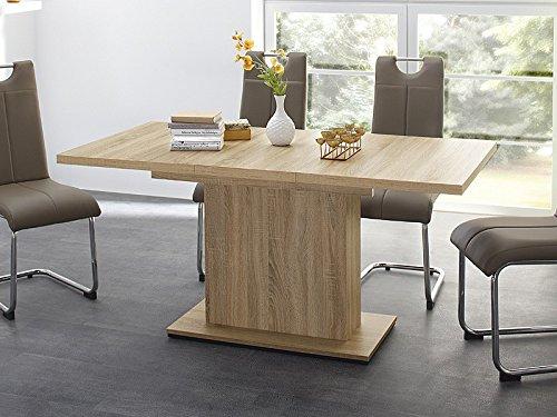 expendio Esstisch Patrick 120(160) x80x76cm Eiche sägerau Säulentisch ausziehbar, Eckbanktisch Küchentisch