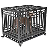 Nurxiovo Dog Crates for Large Dogs Heavy Duty Dog Kennel with Strong Metal Playpen Heavy Duty Sturdy Steel Crate with Removable Tray Four Wheels 46''