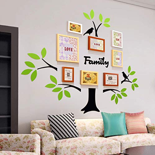 Adesivo da Parete Combinazione di Cornici Foto e Albero Adesivi Semplici Fai da te 3D Murali Sticker - Albero Adesivo Per la Decorazione Domestica (Semplice Adesivo, Verde)