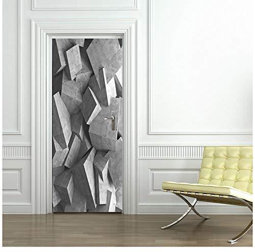 Grijze geometrische 3D-behangdeur muurschildering PVC zelfklevend waterdicht milieuvriendelijk duurzaam hoofddecor 95 * 215cm