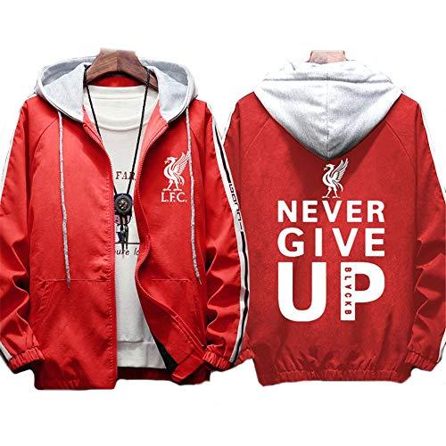 メンズフード付きジャケットフットボールクラブスウェットシャツとともにリバプール-You'll Never Walk Alone logoファンスポーツフルジップコートパーカーフーデッドユニセックス,赤,XXL