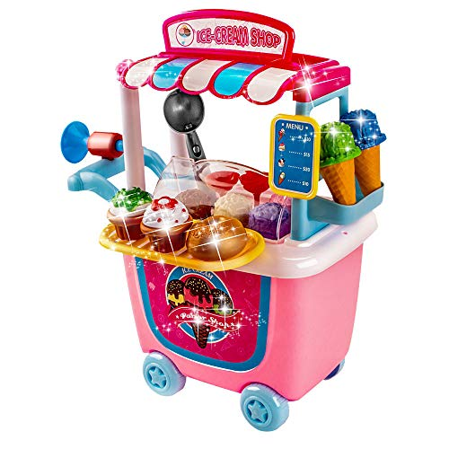 UNIH Pretend Playset Ice Cream Toddler Toys Store Cart for Kids Birthday Gift