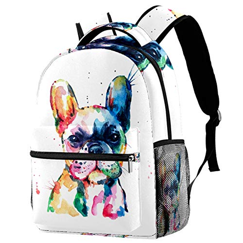 Dog French Bulldog Watercolor Illustration Backpack for Teens School Book Bags Travel Casual Daypack