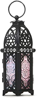 Retro Iron Candle Lantern, Portable Moroccan Wrought Iron Stained Glass Decorative Lantern Candle Holder Hanging Lamp Wind...