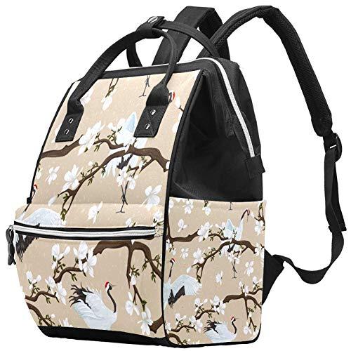Sac à langer momie Sac à dos de jasmin fleur grue oiseau art multifonction imperméable à langer sac à dos de voyage pour soins de bébé