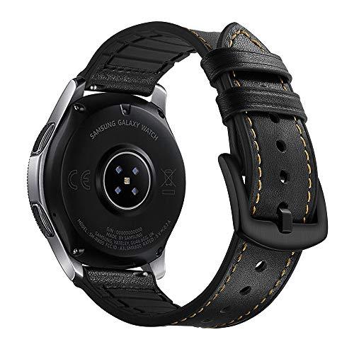 Myada Compatibel armband voor Samsung Galaxy Watch 46 mm armband Gear S3 Frontier leer, Smartwatch armband Samsung Gear S3 lederen armband S3 Classic armbanden Galaxy Watch echt leder + siliconen sportarmband