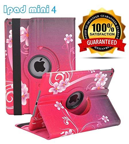 iPad Mini 4 Case - 360 Degree Rotating Stand Case Cover with Auto Sleep/Wake Feature for iPad Mini 4 (Red Peach Heart)