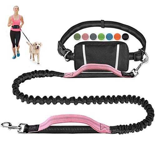 Hands Free Dog Leash Bungee Retractable Dog Running Waist Leash for Running Walking Jogging Training Hiking with Medium to Large Dogs, Adjustable Waist Belt Pouchouch, Reflective Stitches, Dual Handle