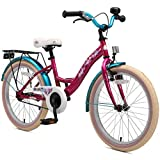 BIKESTAR Premium Sicherheits Kinderfahrrad 20 Zoll für Mädchen ab 6-7 Jahre  20er Kinderrad Classic  Fahrrad für Kinder Berry & Türkis