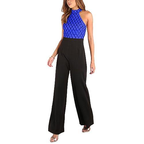 010e5791960e Gladiolus Women Ladies Beach Halter Plaid Long Playsuits Sleeveless  Backless Jumpsuit Sequins