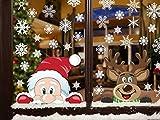 Yusongirl Peeping Santa and Rudolph Snowflake Window Cling Stickers Christmas Decorations Reusable No-Adhesive Xmas Decals