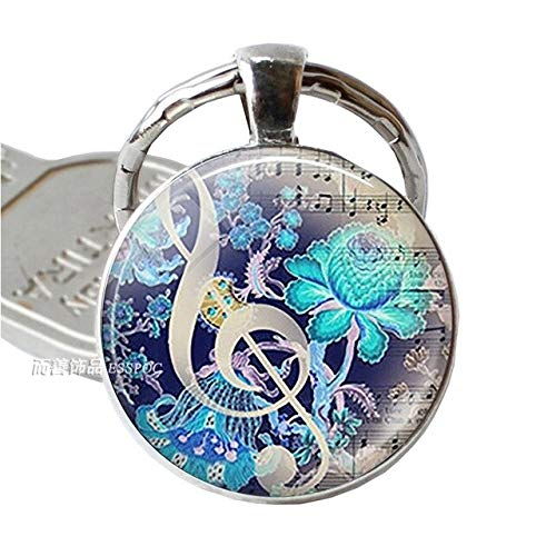 SDFASD Keychain Musical Instrument Clarinet Guitar Flute Violin Music Key Chain Pendant Music Note Keychain Key Rings Music Glass Dome Jewelry As Show