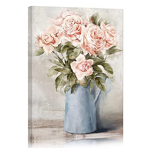 SUMGAR Cuadros en Lienzo Flores Rosas con Jarrón Azul Modernos Vintage de Decoración Hogar para Dormitorios Baño Cocina Sala de Estar - 30 x 40 cm