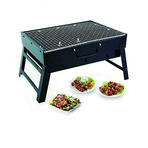 """Happy reunion Folding BBQ Barbecue 14.17"""" Portable Charcole Grill Stainless Folding Charcoal Camping Barbecue Oven (BBQ Barbecue Grill)"""