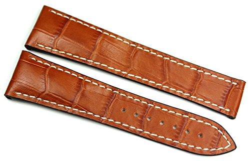 RIOS1931 22 mm/18 mm reloj de pulsera correa de piel auténtica hecha cocodrilo en relieve cinta color marrón coñac para cierre desplegable. Apta para Omega Alemania imitación cocodrilo. Alligator