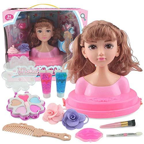 Busto Cabeza Muñeca Peinados para Peinar con Accesorios para Peinado y Belleza, cabeza para maquillar y peinar para Niñas a Partir de 3 años