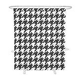 Hiser Duschvorhang Hohe Qualität PolyesterWasserdicht Anti-Schimmel Anti-Bakteriell 3D Drucken mit C-Form 12 Ringe Kunststoff Haken Bad Vorhang für Badzimmer (Hahnentritt,180x180cm)