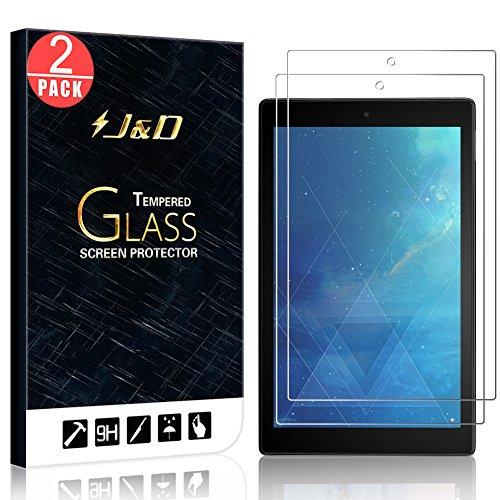 J&D Compatible para 2-Pack All-New Fire HD 10 Tablet 2017 Protector de Pantalla, [Cristal Templado] [NO Cobertura Completa] HD Claro Vidrio Protector de Pantalla para All-New Fire HD 10 Tablet 2017