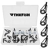 thkfish Rod Tip Repair Kit Rod Repair Kit Fishing Rod Tips Stainless Steel Ceramic Ring Guide Rod Repair Replacement 6Sizes 30pcs Small Style