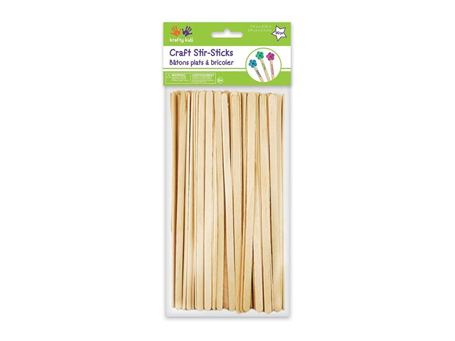 Multicraft Imports Krafty Kids CW520 Craftwood Natural Craft Stir-Sticks, 7.5in by 0.25in, 80-Piece