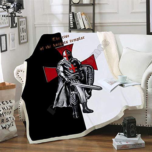 BraveLiuzhi Manta templaria 3D para Caballeros, Manta de Sherpa Estampada en la Cama, Textiles para el hogar, Dreamlike, Accesorios para el hogar130X150CM