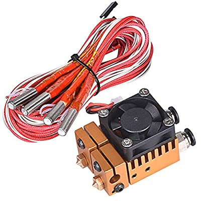 12V 40W All Metal V6 Dual Color 2 In 2 Out Extruder for 3D Printer 1.75mm Filament Multi-Extrusion V6 Bowden Hotend Kit (Gold Color)