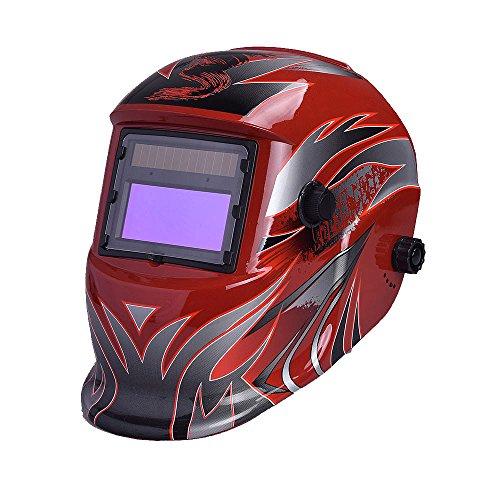 Nuzamas Fonctionne à l'énergie solaire Auto Assombrissement soudeur Masque de soudure Hot Rouge protection du visage pour arc TIG MIG broyage Plasma de coupe avec un Abat-jour réglable Gamme DIN4/9-13