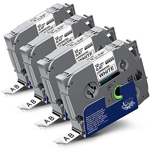 4x Labelwell 0.47 12mm x 8m White Tape Kompatibel Schriftband Ersatz für Brother Tzc Tz Tze-231 Tze231 TZ231 Schwarz auf Weiß für Brother P-Touch PT-E110 PT D400 H105WB D210 H110 D600VP H107B H100LB
