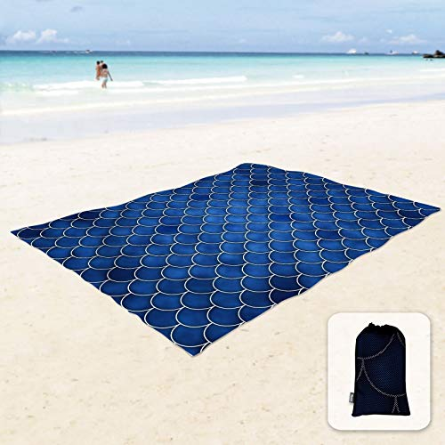Sunlit Silky Soft Sand Proof Beach Blanket Sand Proof Mat with Corner Pockets and Mesh Bag 6' x 7' for Beach Party, Travel, Camping and Outdoor Music Festival, Dark Blue Mermaid Tail Scale