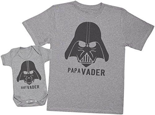 Zarlivia Clothing Baby Vader & Papa Vader - Ensemble Père Bébé Cadeau - Gris - XXL & 6-12 Mois