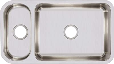 Elkay Lustertone ELUH3219 30/70 Double Bowl Undermount Stainless Steel Kitchen Sink