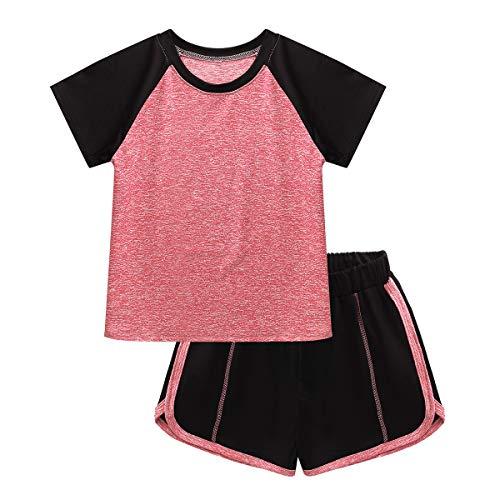 JEATHA Kinder Mädchen Jungen Trainingsanzug Sommer Schnelltrockend Sportanzug Jogginganzug Sommer Outfits Gr. 110-152 Orange 110-116