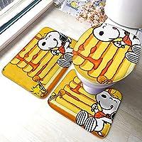 Snoopy!トイレマット バスルームラグ 3点セット トイレマットセット フタカバー U型o型トイレ兼用フタカバー 便座カバー マット 吸収性のあるラグバスマット