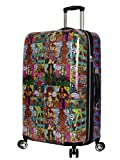 Betsey Johnson 26 Inch Checked Luggage Collection - Expandable Scratch Resistant (ABS + PC) Hardside Suitcase - Designer Lightweight Bag with 8-Rolling Spinner Wheels (Girls Print)