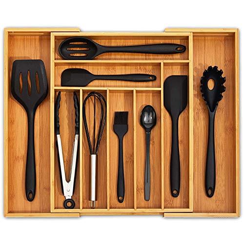 Huante - Organizador de cajón de cocina extensible con cubiertos y bandeja para cubiertos con separadores de cajones ranurados