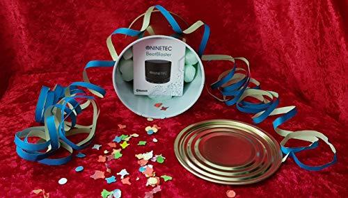 Geschenkidee: NINETEC NT.BS.BB - BeatBlaster Bluetooth Bass Lautsprecher - verpackt in Einer Konservendose (zu Öffnen mit einem herkömmlichen Dosenöffner) - Micro SD AUX Freisprechfunktion - Blau