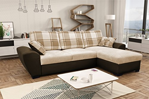 Alabama Corner Sofa Bed Black and Grey or Brown and Cream Fabric Leather With Storage (Right, Brown/Cream)