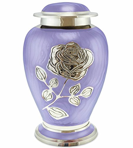 Ansons Urns Silver Rose Cremation Urn - Funeral Urn with Large Flower on Lilac Purple Enamel - Burial Urn for Human Ashes Adult Size - 100% Brass