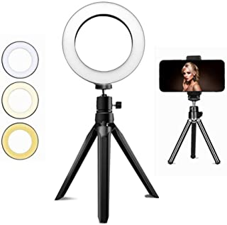 JaxTec LED Ringlichtstativ, 20,1 cm Schreibtisch Make up Ring Lichtstativ für YouTube Video/Fotografie, mit 3 Lichtmodi und 11 Helligkeitsstufen, inklusive Handy Halterung für den Schreibtisch
