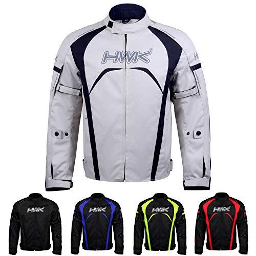Motorcycle Jacket Men's Riding HWK Textile Racing Motorbike Hi-Vis Biker CE Armored Waterproof Jackets (Silver, L)