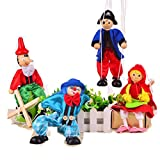 SPARIK ENJOY 4 Packs Boy Lovely Girl Pirate Clown Hand Marionette Puppet Children's Wooden Marionette Toys Colorful Long Nose Marionette Puppet Doll Parent-Child Interactive Toys- Color Random