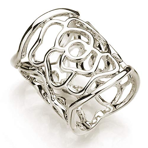 Koueja101 Scarf Ring Fashion Women Openwork Carved Rose Pattern Scarf Ring Buckle Shawl Clip Jewelry - Silver