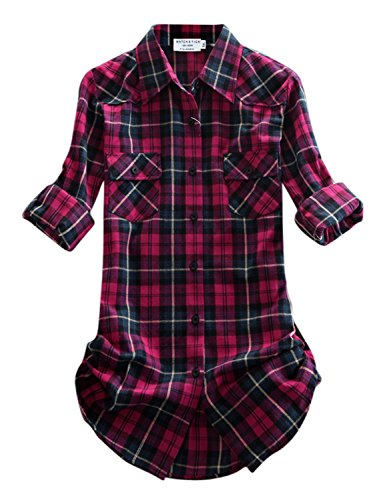 Match Mujer Camisa Tartán Franela #B003(2021 Checks#8,Small)