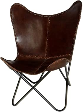 Leather Butterfly Chair - Genuine Leather I Handmade, Iron Frame I Lounge Chair I Comfortable Recliner I Hand-Stitching Indus