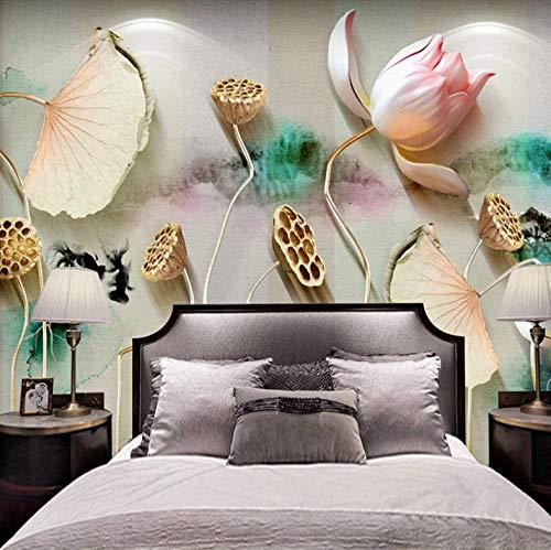 Dalxsh Klantspecifieke foto's Chinese 3D reliëf inkt Lotus kunst wandfoto restaurant thee werkkamer wanddecoratie wandfoto papier 350 x 250 cm.