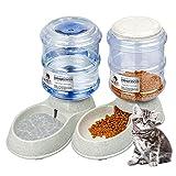 KORIEMFA Dispensador automático de Comida para Gatos y Perros, dispensador de Agua para Mascotas, dispensador automático de Agua, Fuente de Agua para Cachorros, 3,8 L Cada uno (Gris)