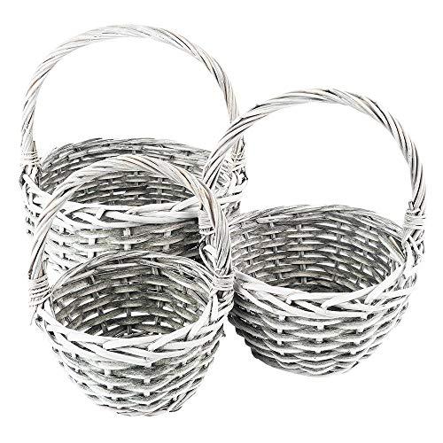 Juego de cestas de mimbre con forma de corazón | 3 cestas en diferentes tamaños: Ø14, Ø18, Ø21 cm | con asa | gris | trenzado | redondo, pequeño | ideal como cesta vacía